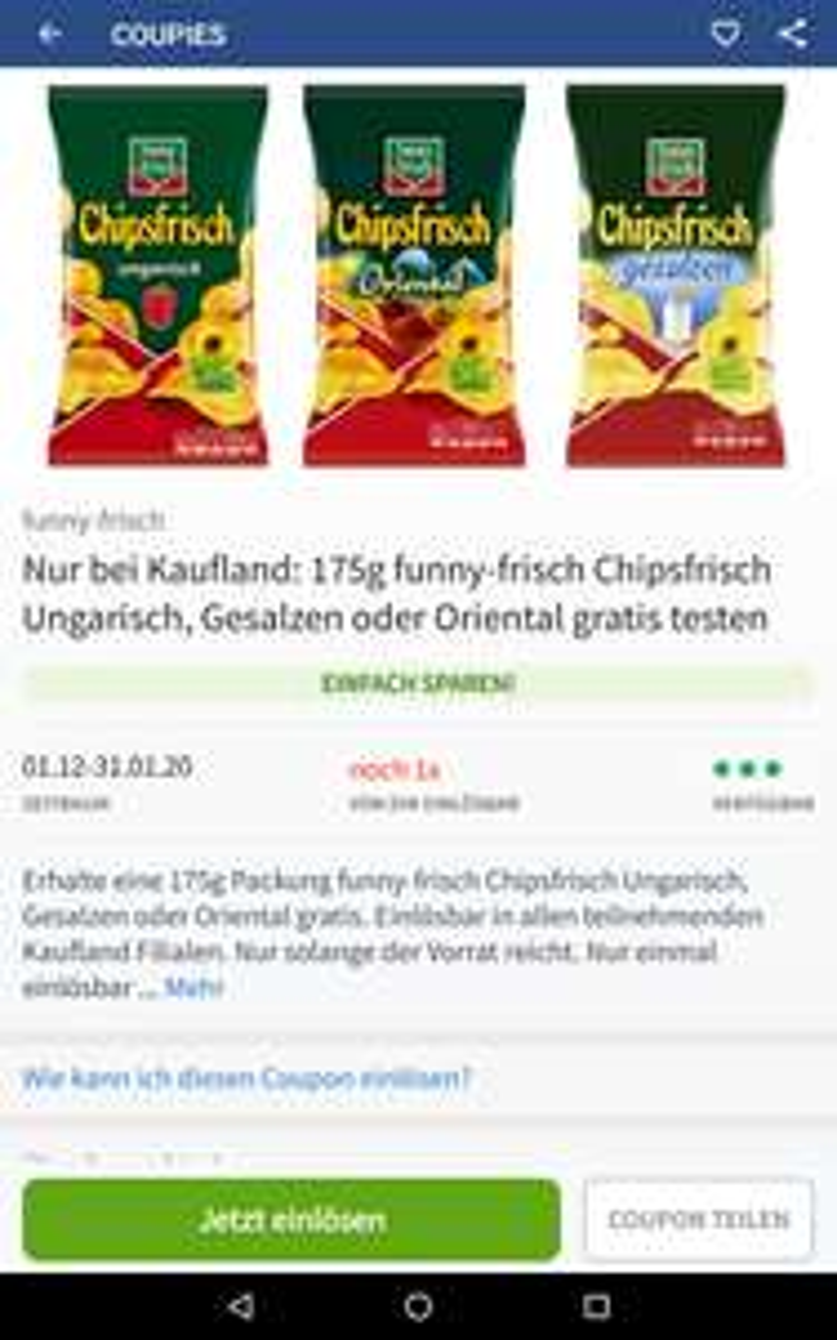 [Coupies App, personalisiert] Nur bei Kaufland: 175g funny-frisch Chipsfrisch Ungarisch, Gesalzen oder Orientalisch gratis testen!