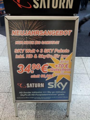 Sky Komplett inkl. HD + SkyGo + SkyPLUS HD Festplattenreceiver + 70 Euro Saturn Gutschein