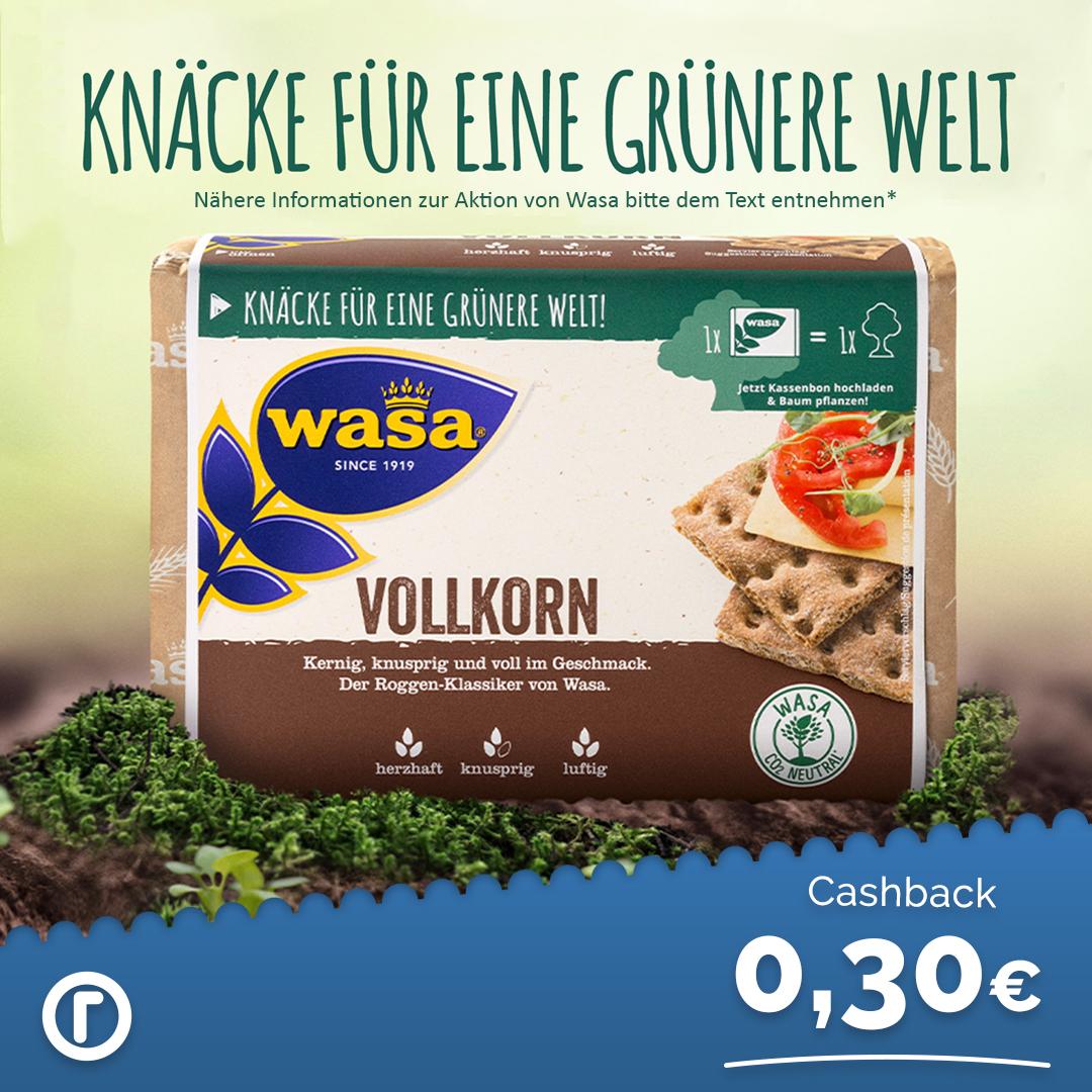 Wasa Knäckebrot + Kostenlosen Baum pflanzen lassen + Urkunde + 0,30€ Reebate Cashback
