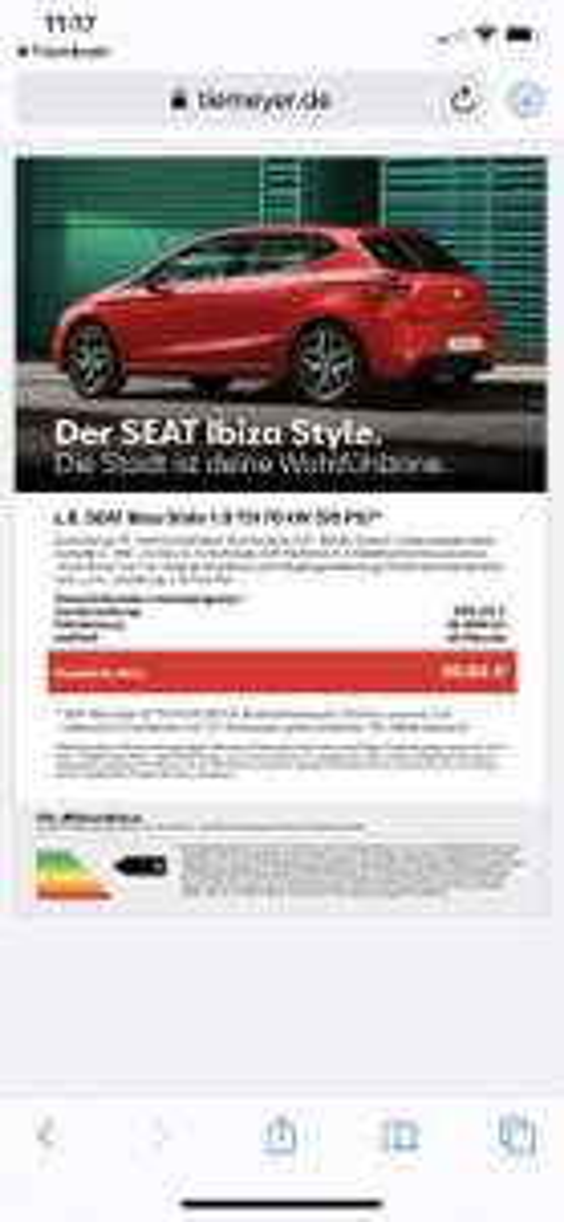 SEAT Ibiza Style 39€ monatlich netto Leasing (Gewerbeleasing)
