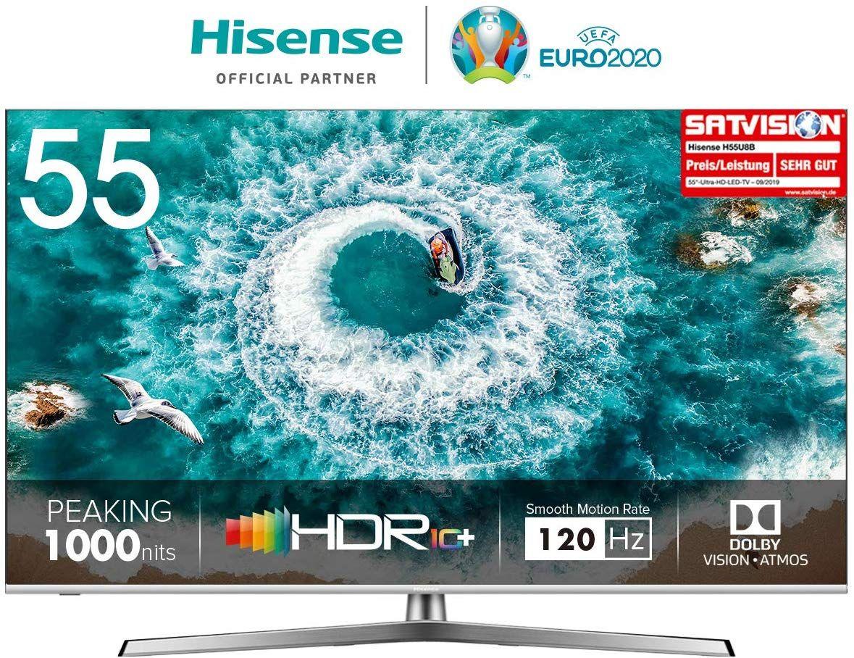 Hisense H55U8B 138 cm (55 Zoll) Fernseher (4K Ultra HD, HDR 1000, DolbyVision, Triple Tuner, Smart-TV, USB-Aufnahmefunktion, WCG) [Amazon]