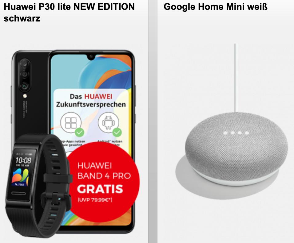 (Telekom-Netz) md Telekom green LTE (18GB LTE, Allnet- & SMS-Flat) inkl zB Huawei P30 lite New + Huawei Band 4 Pro und Google Home Mini