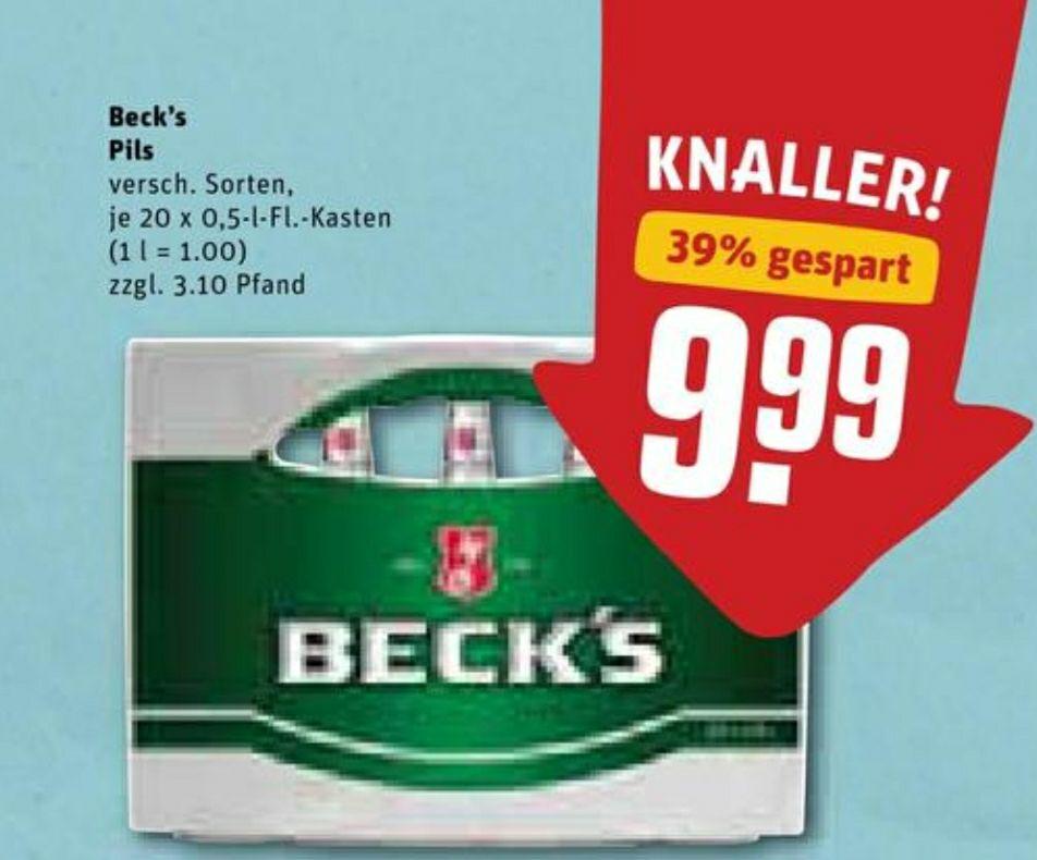 (Rewe ab 27.01.) Beck's 0,5l / 20x0,5l verschiedene Sorten im Angebot (Preis + 3,10€ Pfand)