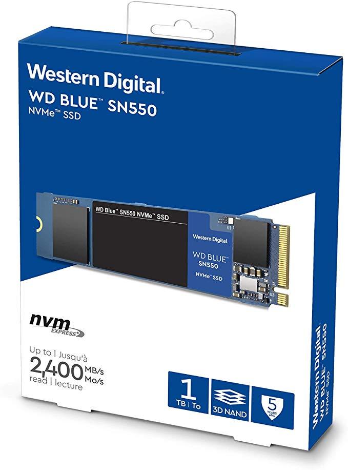Western Digital WD Blue SN550 NVMe SSD 1TB, M.2 (3D-NAND TLC, R2400/W1950, SLC-Cached) WDS100T2B0C