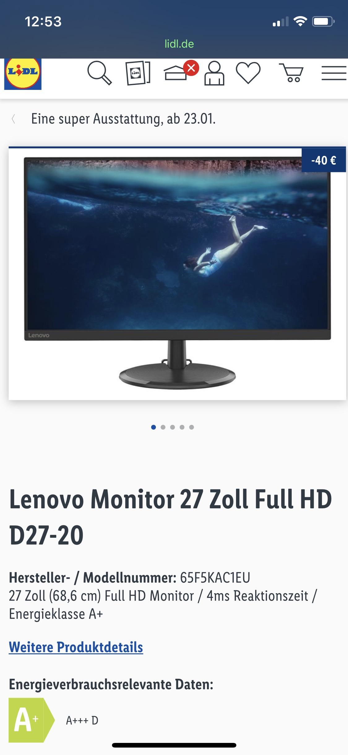 Lenovo D27-20 FullHD 27 Zoll 75hz 4ms [Lidl]
