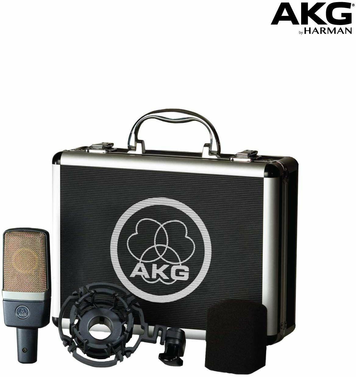 AKG AKGC214 Großmembran Kondensatormikrofon - professionelles Studio-Mikrofon inkl. Spinnen-Halterung, Windschutz & Metallkoffer