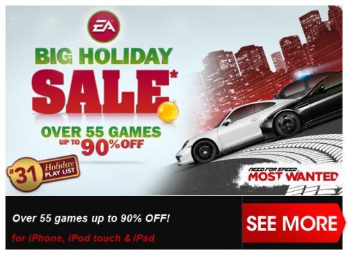 [iOs] Über 55 EA Games bis -90% im aktuellen Holiday Sale mit FIFA 13, The Sims 3, Need for Speed etc. etc.