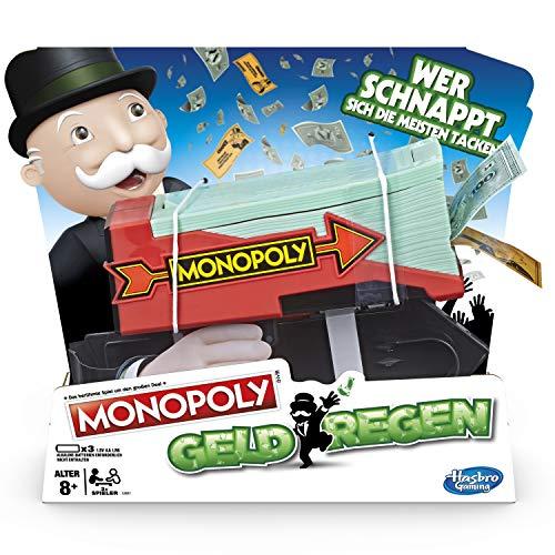 ( AMAZON PRIME ) Hasbro Monopoly E3037100 Monopoly Geldregen, Familienspiel mit Geldblaster, Multicolor