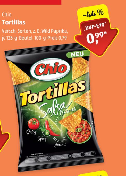 [Aldi Süd ab 31.01] Chio Tortilla Chips 125g für 0,99€, Chio Dip 200g für 1,29€
