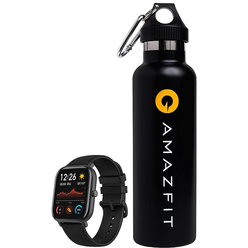 Amazfit GTS Smartwatch Aluminium-Gehäuse, schwarz inkl. Thermo-Trinkflasche