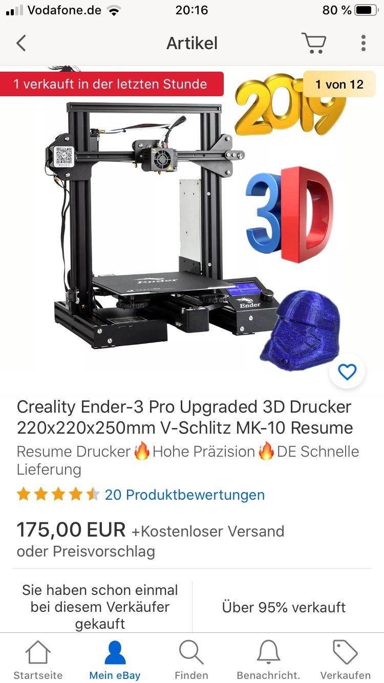 Creality Ender-3 Pro 3D Drucker aus DE Lager