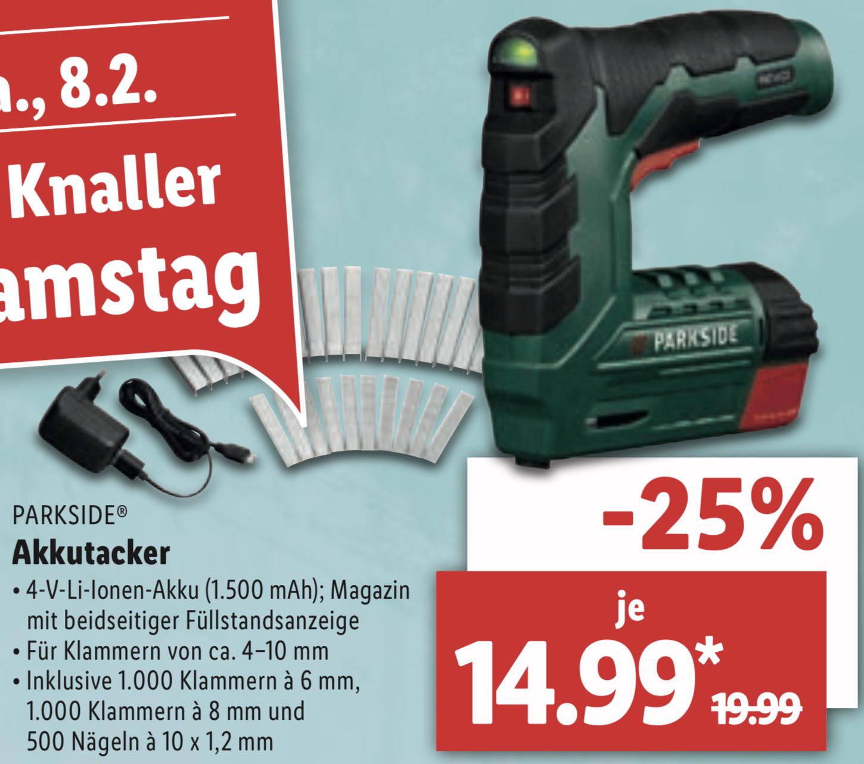 Akkutacker für Klammern u. Nägel mit Li-Ionen Akku für 14,99€ / Standmixer mit Glasbehälter 1,75 Liter für 14,99€ (nicht überall)
