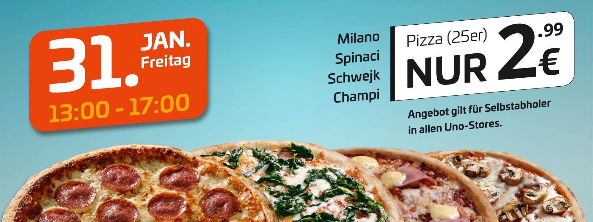 [lokal Magdeburg, Halle, Leipzig, Merseburg] uno Pizza Milano, Spinaci, Schwejk, Champi (25 cm) am Freitag, 31. Jan. von 13-17 Uhr je 2,99 €