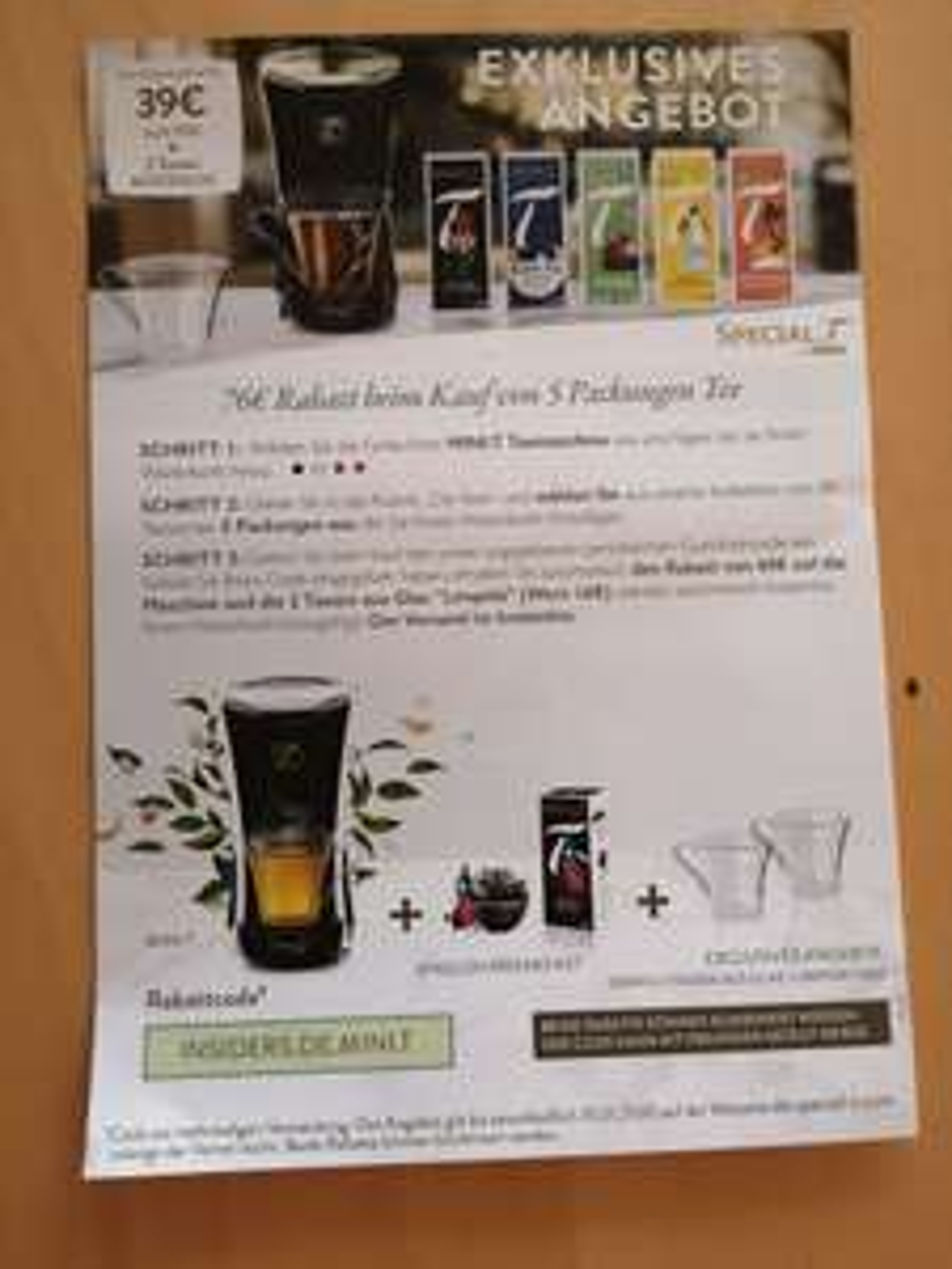 Mini.T Teemaschine für 39 € beim Kauf von 5 Packungen Tee (hierdrauf 20 %) + 2 Tassen kostenlos