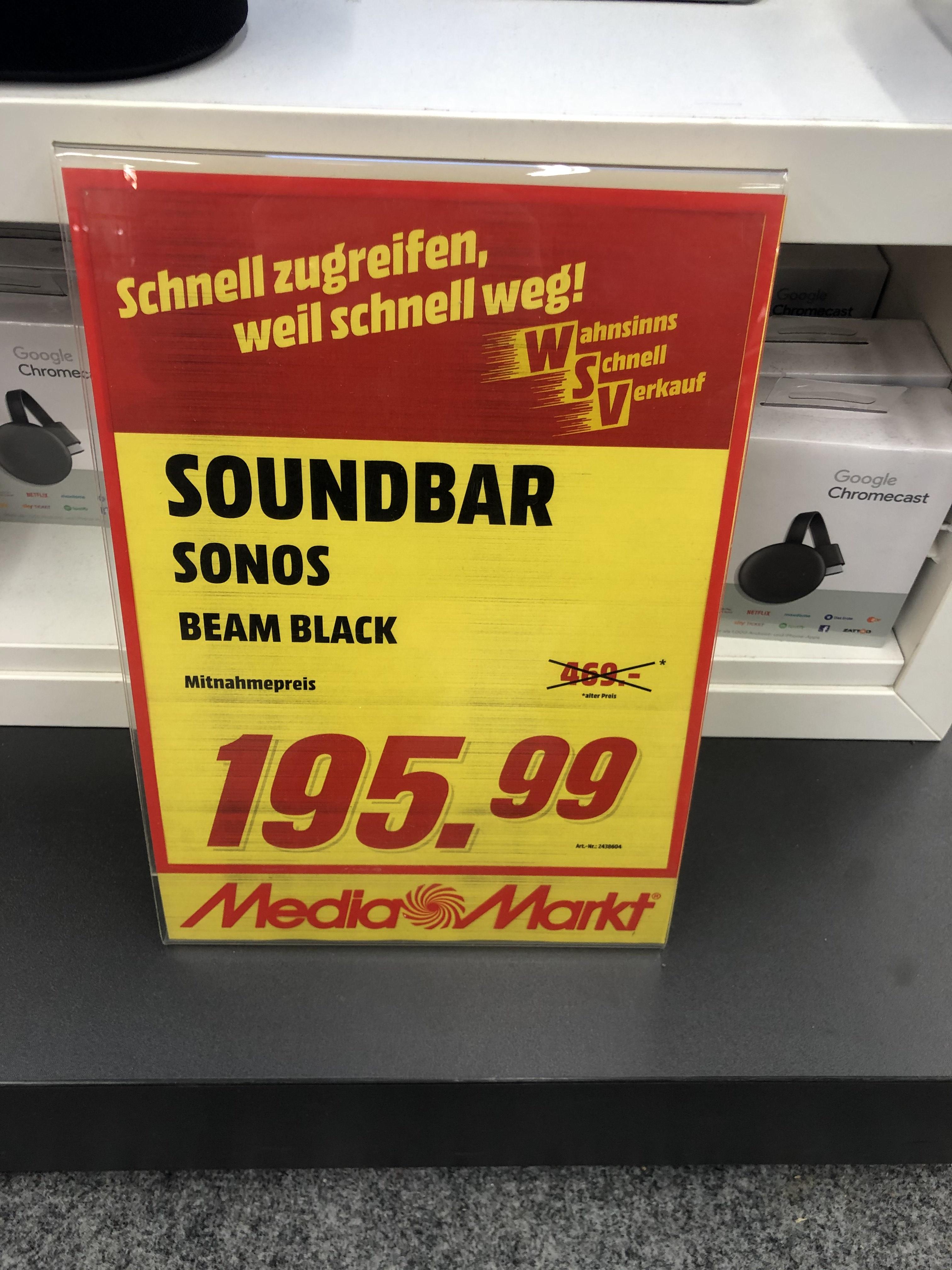 Sonos Beam schwarz Lokal MediaMarkt Neuburg/Donau