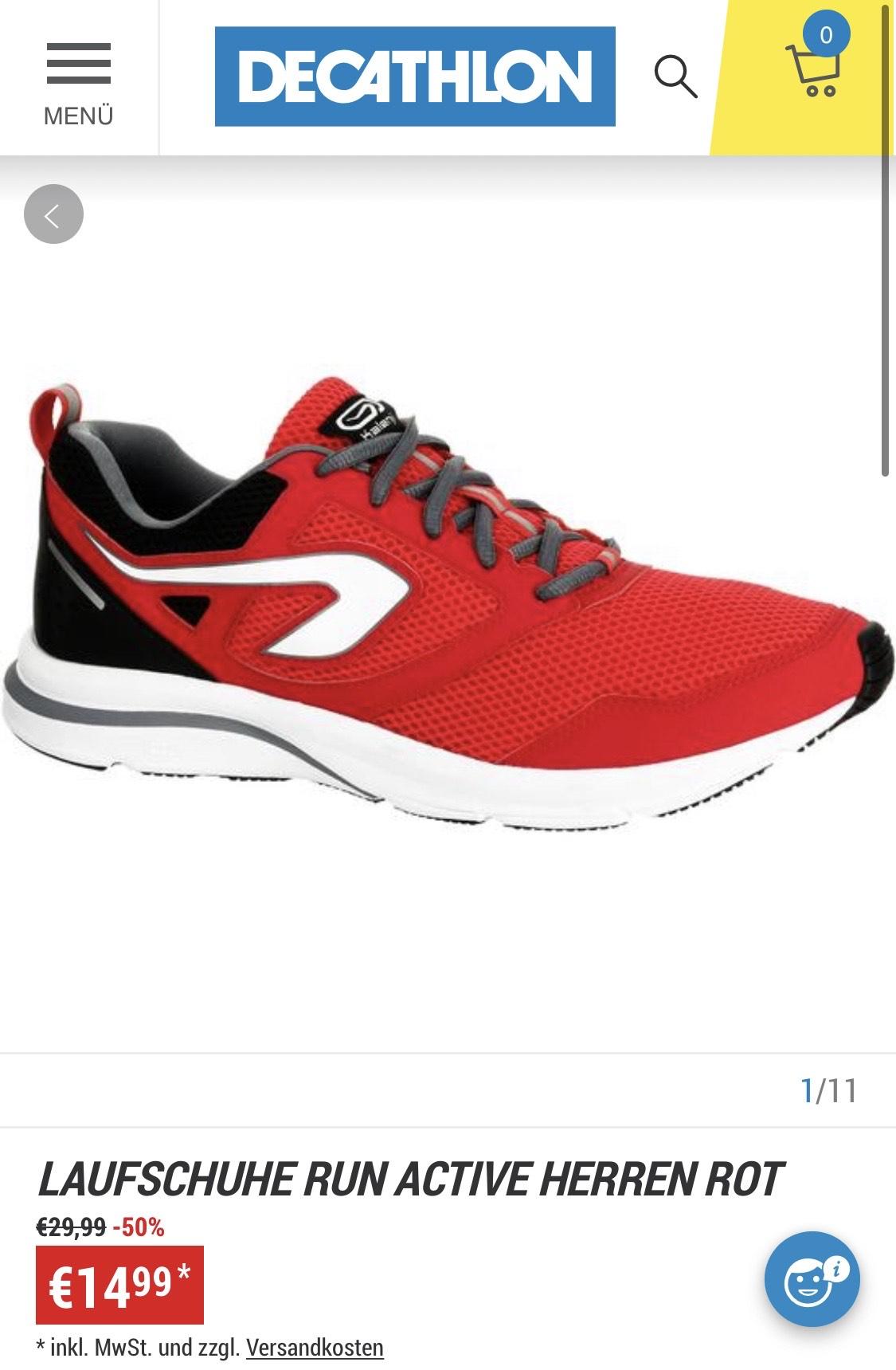 Decathlon Kalenji Laufschuhe Run Active Herren in rot, nahezu alle Größen