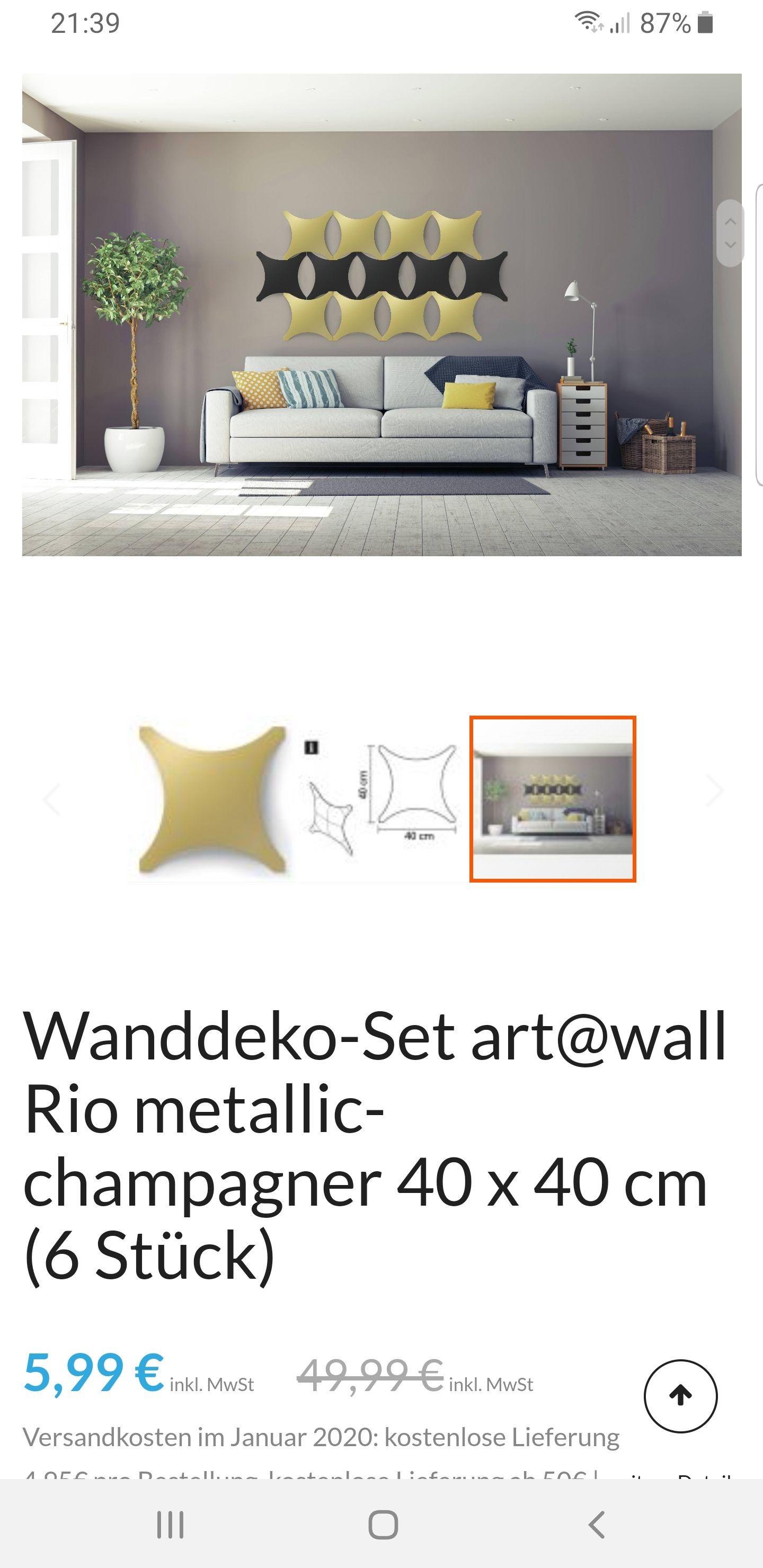 Preisfehler! Wanddeko-Set art@wall Rio metallic-champagner 40 x 40 cm (6 Stück)
