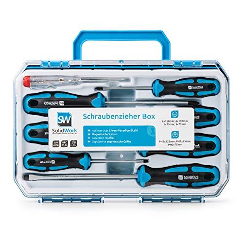 [Prime Blitzangebot] Schraubendreher Set 8tlg in robustem Werkzeugkoffer – magnetisch aus hochwertigem Chrom Vanadium + Spannungsprüfer