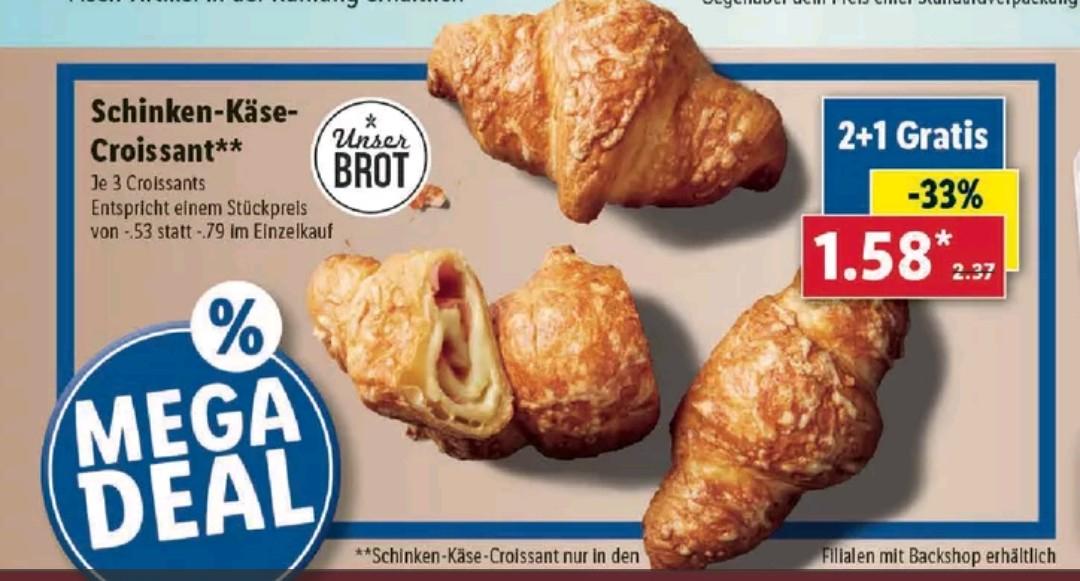 [Lidl Filiale] 2+1 gratis: Schinken-Käse-Croissant im Backshop