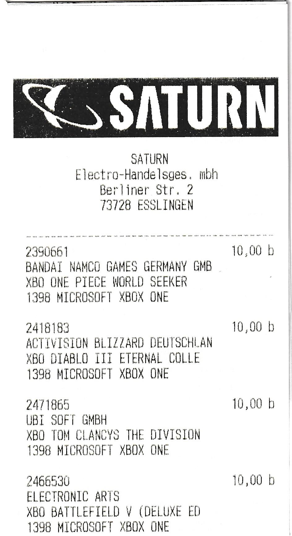 [Lokal] Saturn Esslingen - Zahlreiche Xbox One Spiele für 10 € [u.a. Division 2/One Piece World Seeker/FarCry New Dawn/CoD BO4, Sekiro,...]