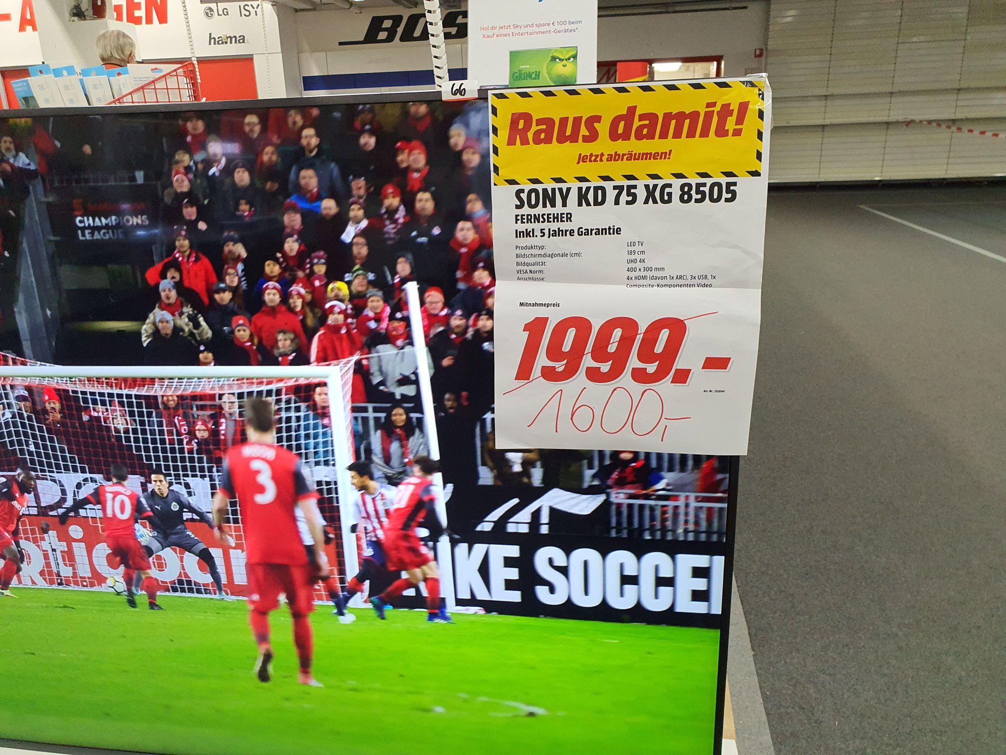 [Lokal Media Markt Hamburg Nedderfeld] Sony KD 75 XG8505 Smart TV für 1400€ inkl. 5 Jahre Garantie