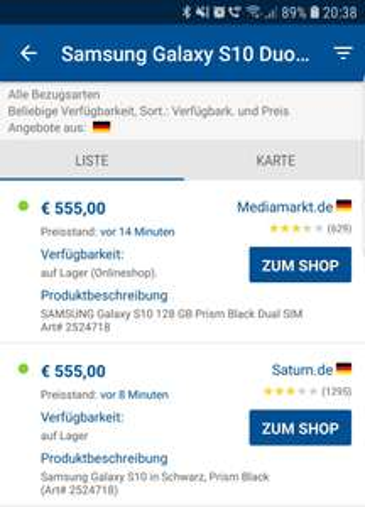 Samsung Galaxy S10 128GB für 555€