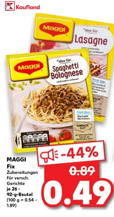 Kaufland + Real / MAGGI Fix für 0,49 Euro