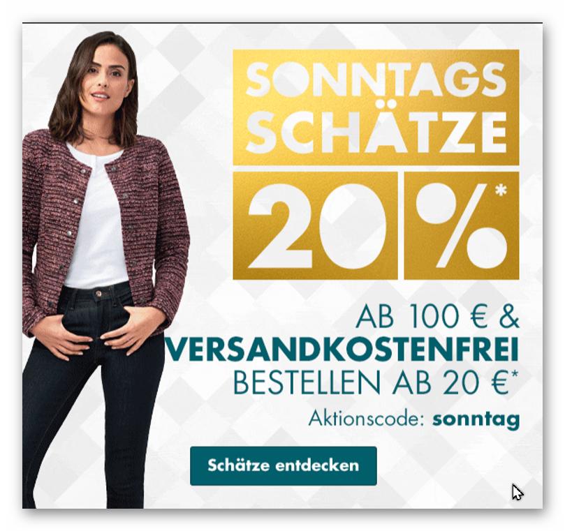 30% Galeria-Kaufhof Sonntags-Schätze Aktion 20% und 10% Shoop viele Kategorien