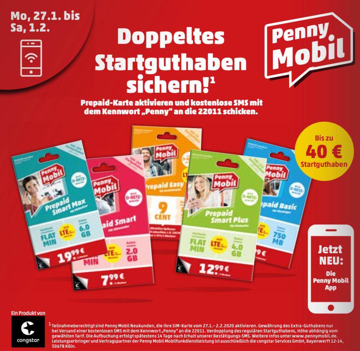 Doppeltes Startguthaben auf alle Startpakete von Penny Mobil: z.B. Prepaid Smart Max für 9,95€ inkl. 40€ (Allnet-Flat, 6GB LTE)