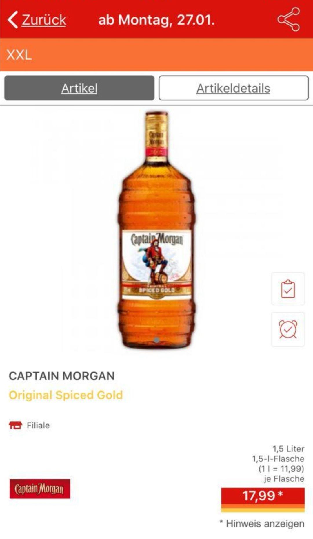 [Norma] Captain Morgan Original Spiced Gold XXL 1,5 Liter 17,99; 11,99 Literpreis (evtl. Lokal)