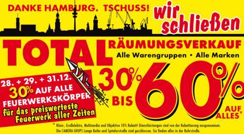 Lokal Hamburg - 1000Töpfe schliesst--- jetzt 30%- 60% auf alles!!! Auch auf Feuerwerk.
