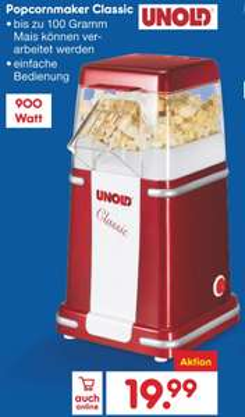 [Netto Filiale] Unold Popcornmaschine Classic, Heißluft, 900 Watt, kein Öl nötig