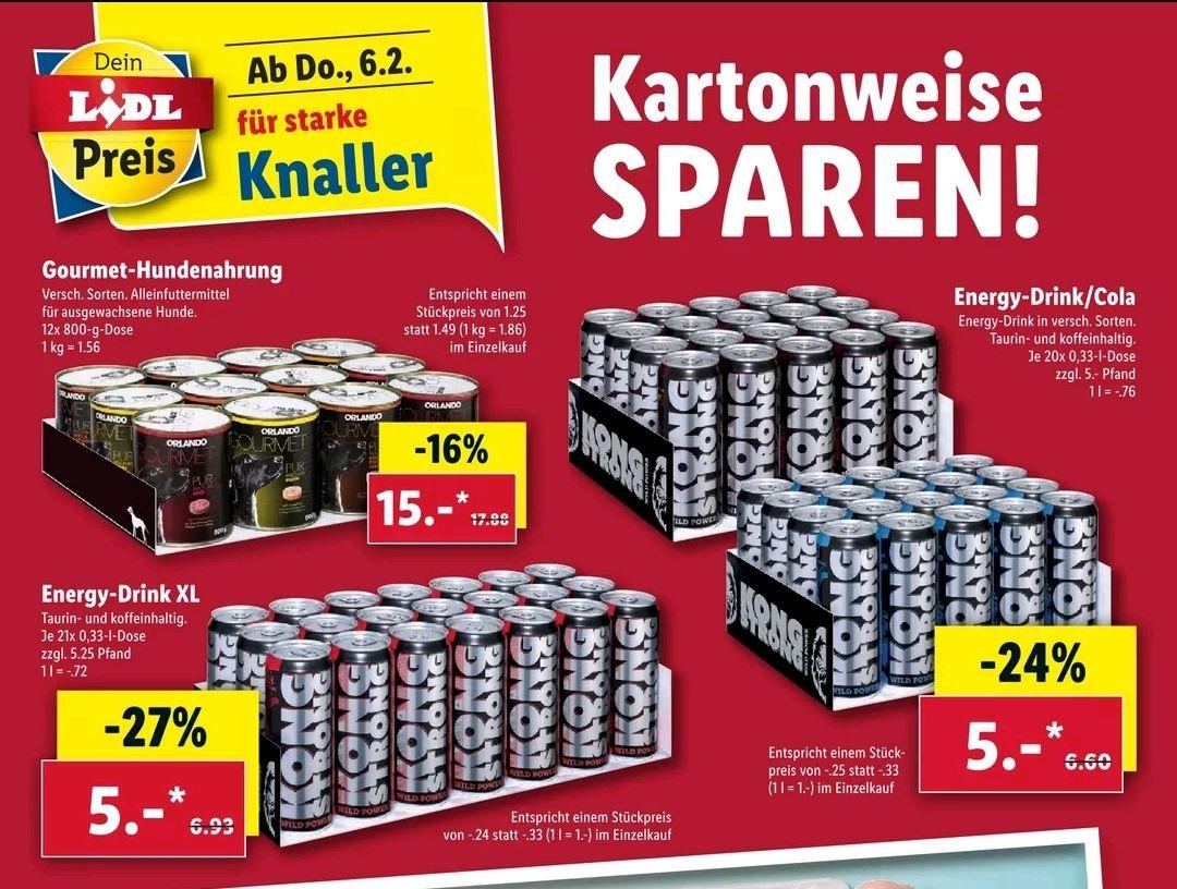 Bestpreis bei Kartonabnahme Kong Strong Energie nur 5€ und Hundefutter für nur 15€ (regional)