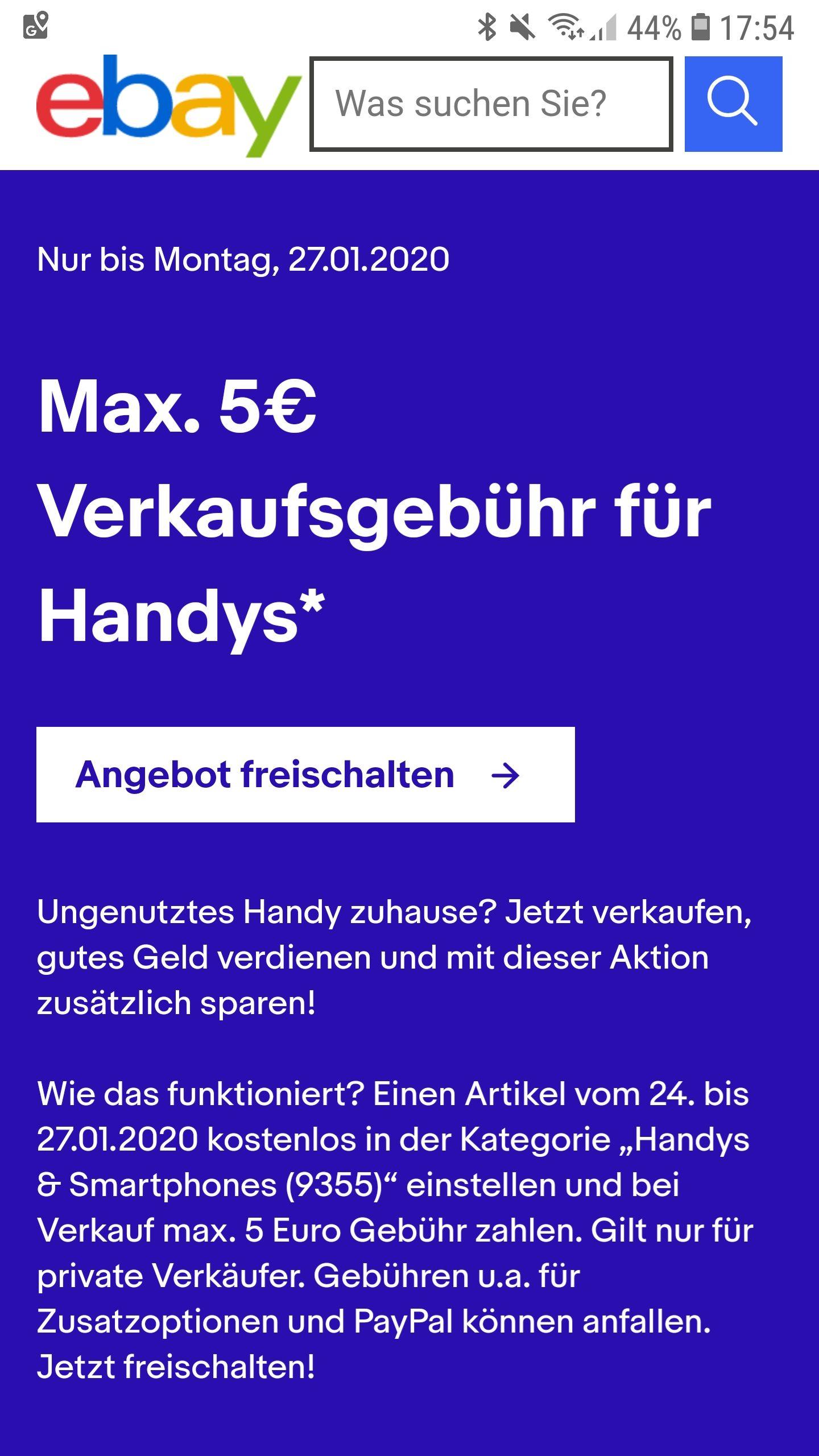 Maximal 5€ Gebühr beim Handyverkauf auf eBay bezahlen. (Für eingeladene Verkäufer)