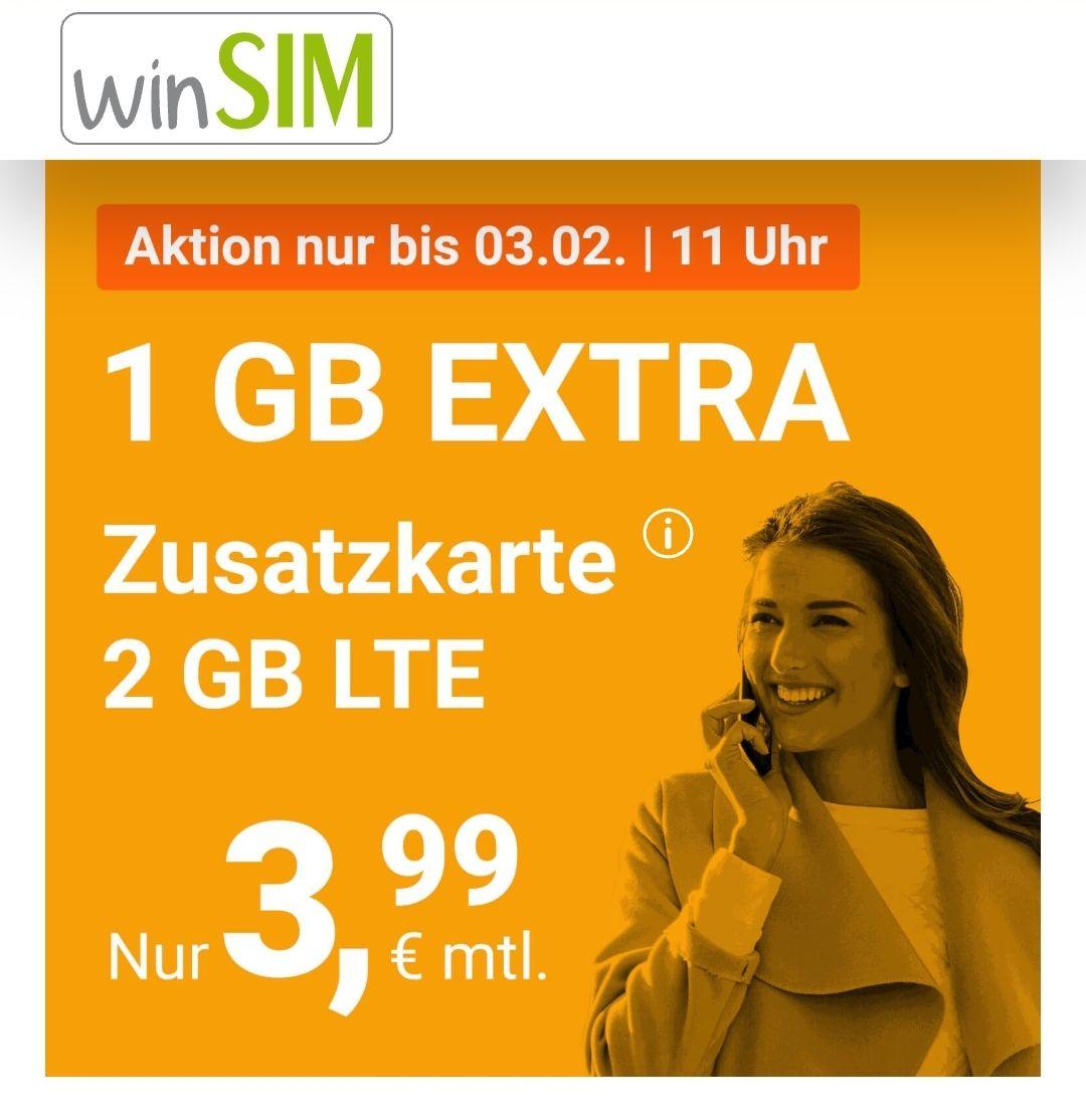 WinSim Zusatzkarte - 2GB (50 Mbit/s) & 100 Freiminuten