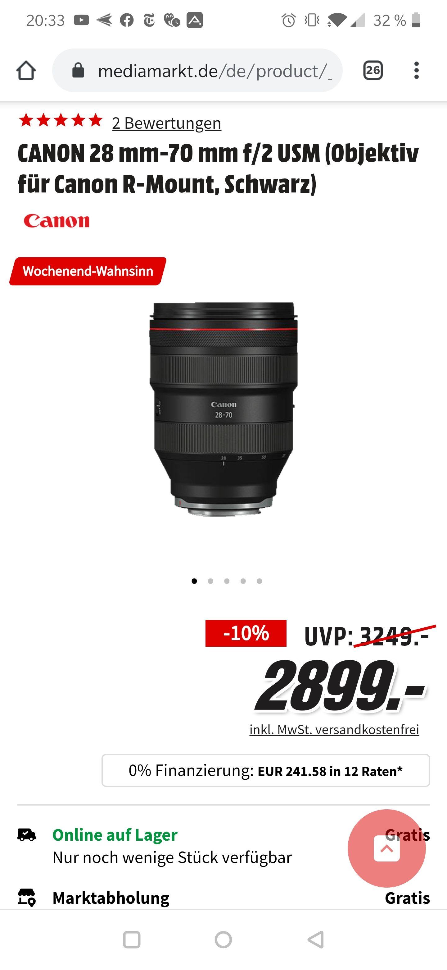 (Mediamarkt/Amazon) CANON 28 mm-70 mm f/2 USM