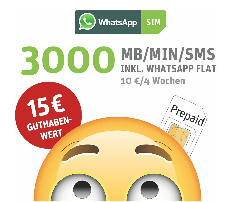 (Amazon) WhatsApp SIM Prepaid Starterpaket mit 5 EUR Guthaben und 3000 Einheiten inklusive