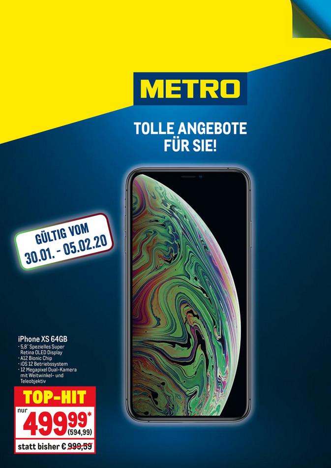 [Metro] iPhone XS 64 GB für 499,99€ netto bzw. 594,99€ Brutto ab 30.01.
