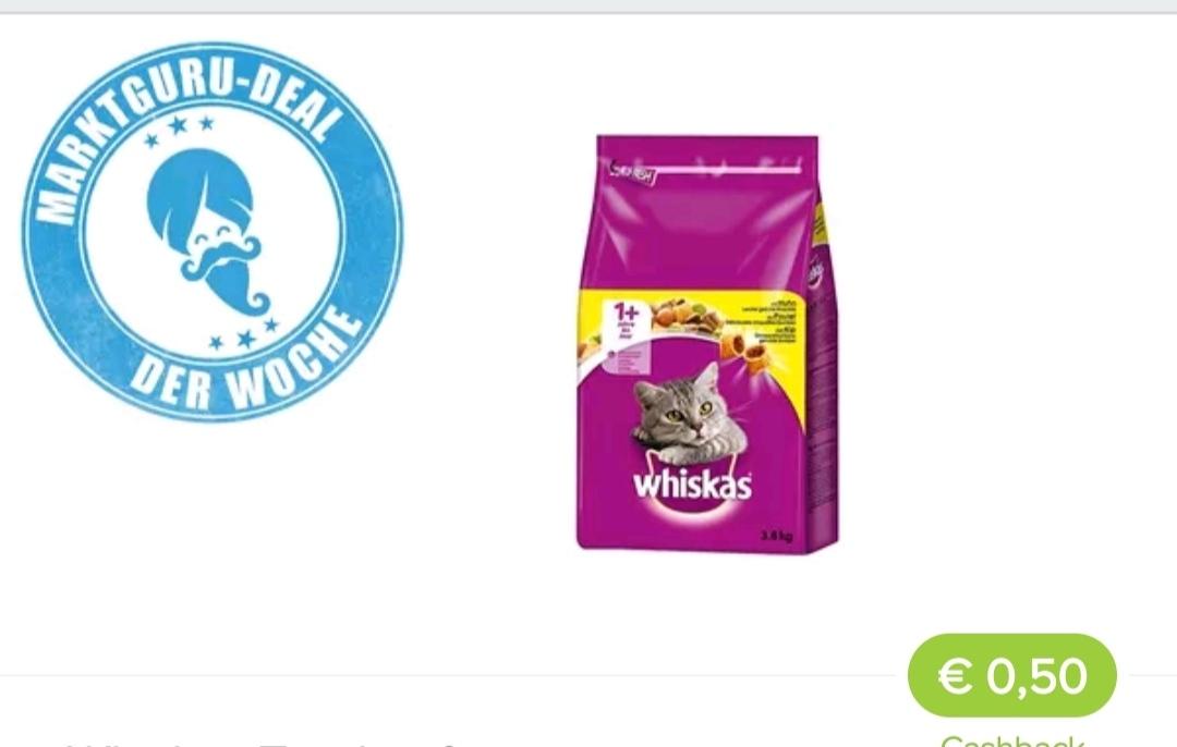 Rewe Whiskas Trockenfutter im Angebot +Marktguru 0,50 Cent CB.