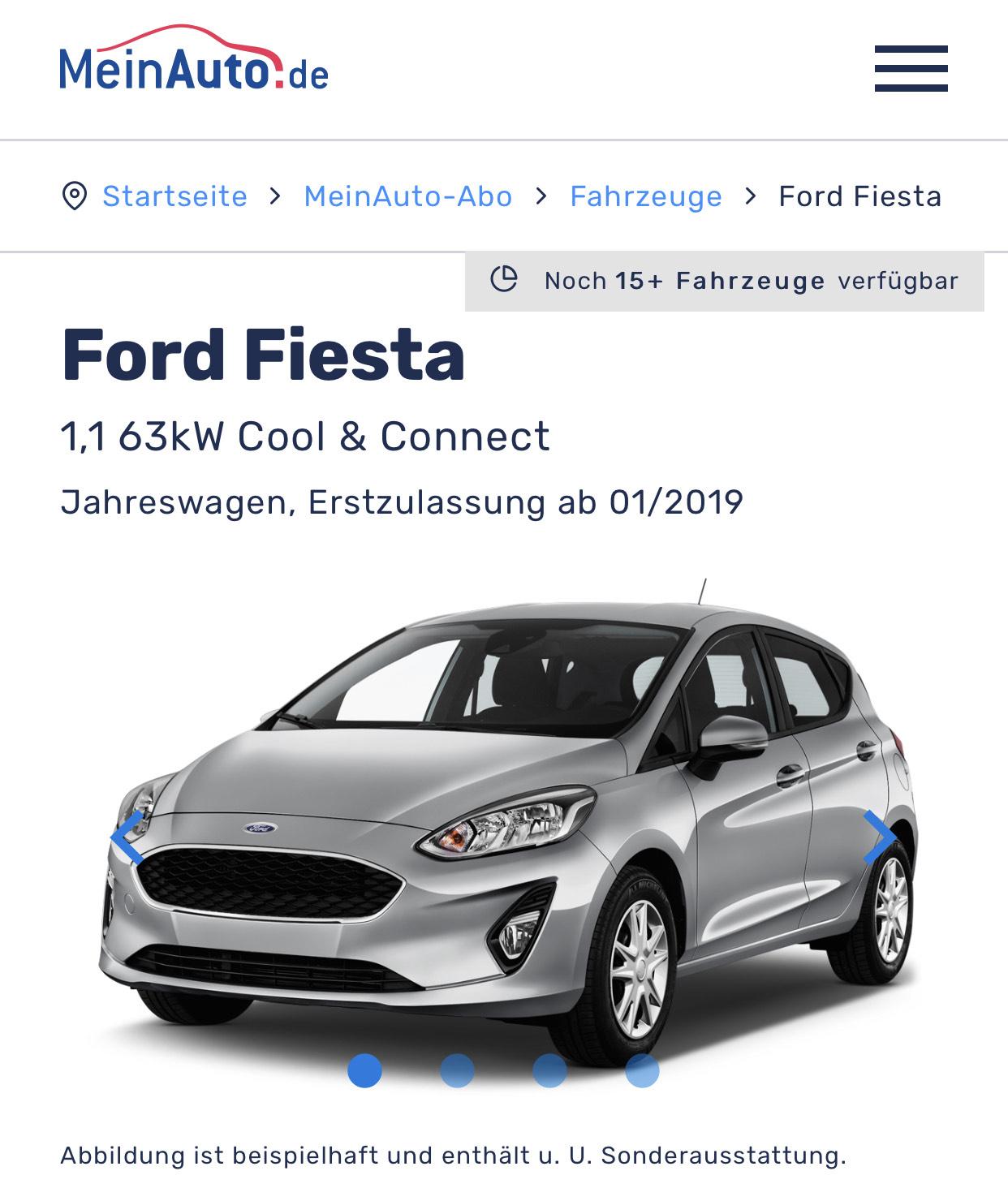 Auto Abo all inkl. Meinauto.de - Ford Fiesta für 229€ Monat /12 M. 10tsd km