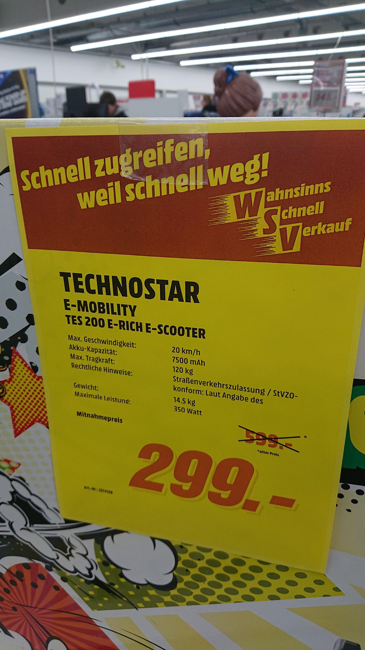[lokal Mediamarkt Ingolstadt] Technostar TES 200 E-Scooter