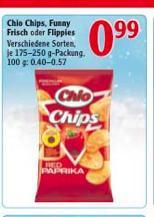 Chio Chips, Funny Frisch oder Flippies für 99ct. im Globus (eventuell nur lokal) Offline