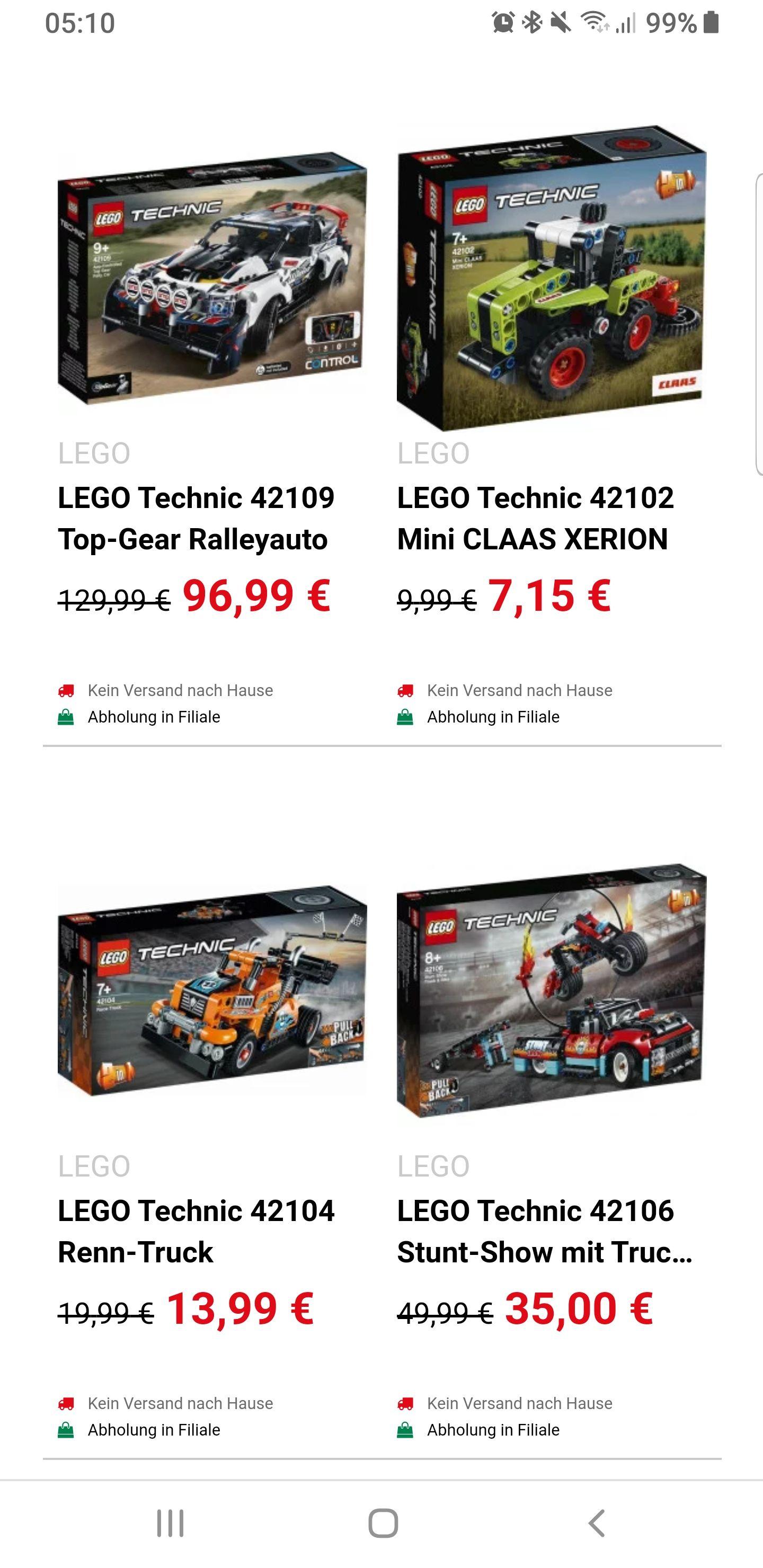 Lego Technic Angebote bei Spielemax, z.B. 42102