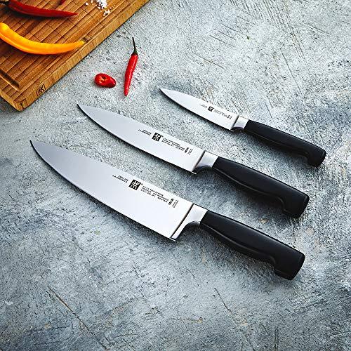 ZWILLING Messer-Set, 3-tlg., Spick-/Garniermesser, Fleischmesser, Kochmesser, Rostfreier Spezialstahl/Kunststoff-Griff, Vier Sterne