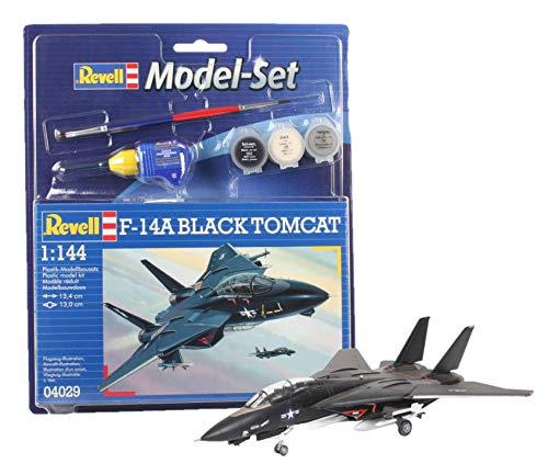 Revell Modellbausatz Flugzeug - F-14A Black Tomcat im Maßstab 1:144, Model Set mit Basiszubehör für 5€ (Amazon Prime & Media Markt)