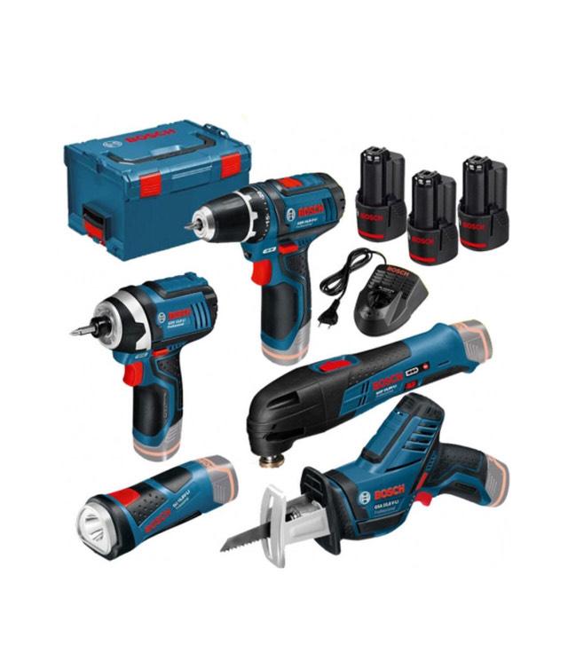 Bosch Professional 5 Tool Kit - Akkuschrauber, Akku-Multitool, Akkuschlagschrauber, Akku-LED, Akku-Säge + 3 x 2,0Ah L-Boxx