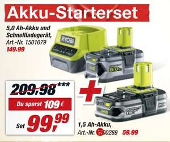 Ryobi Akku-Set RC18120-150 + kostenlosen Akku RB18L15