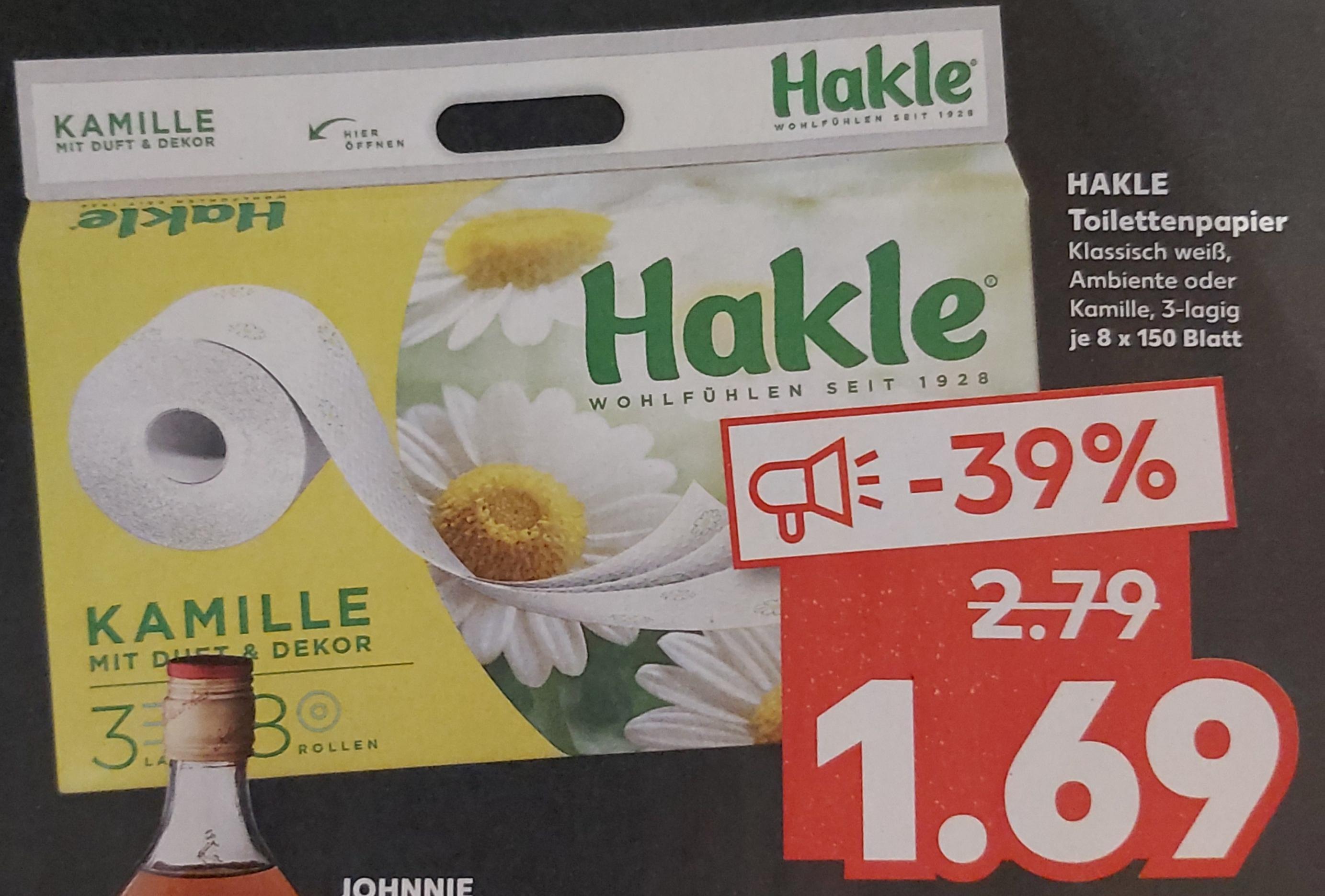[ Kaufland ] HAKLE Toilettenpapier 8*150 Blatt klassisch weiß, Ambiente oder Kamille