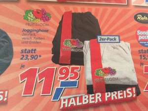[Real] 2 Jogginghosen Fruit Of The Loom 11,95 - ab 31.12.