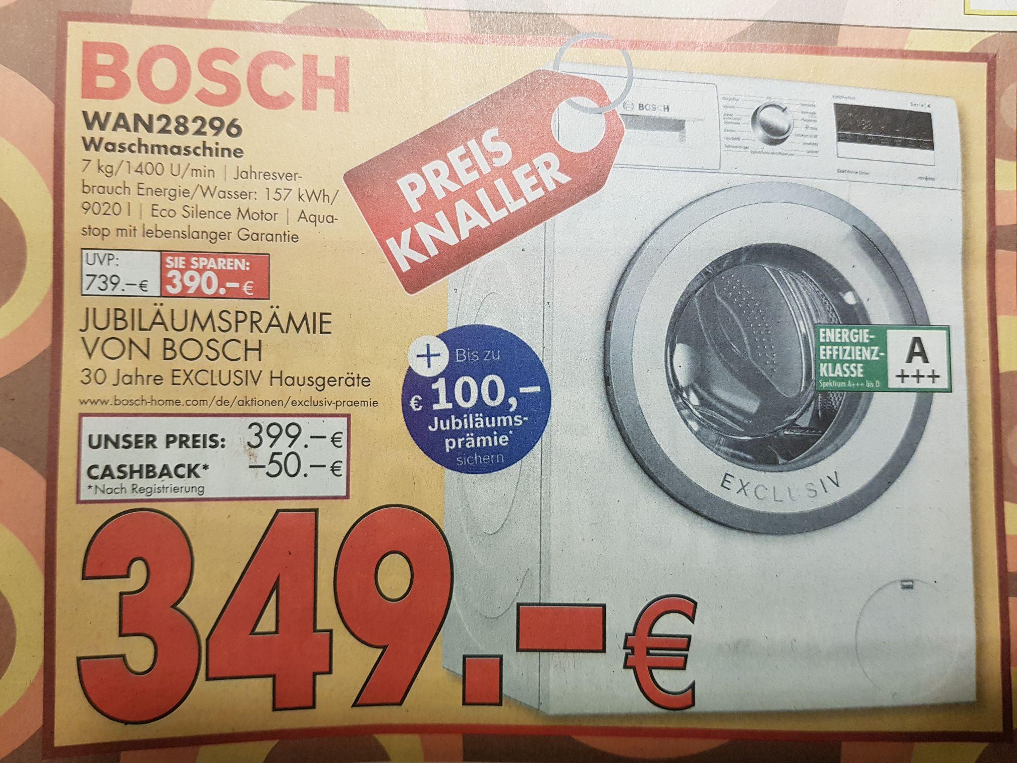 Hirsch & Ille Ludwigshafen, Bosch Waschmaschine WAN28296, dank Cashback 349 €